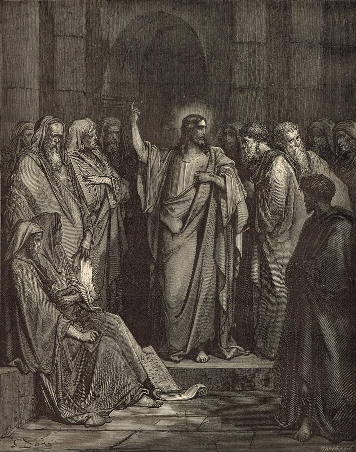 Biblical Drawing - Christ In The Synagogue by Antique Engravings