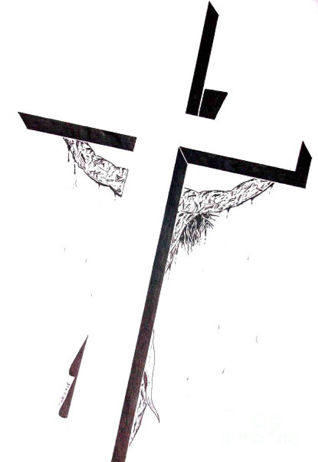 Christ Drawing - Christ On Cross by Justin Moore