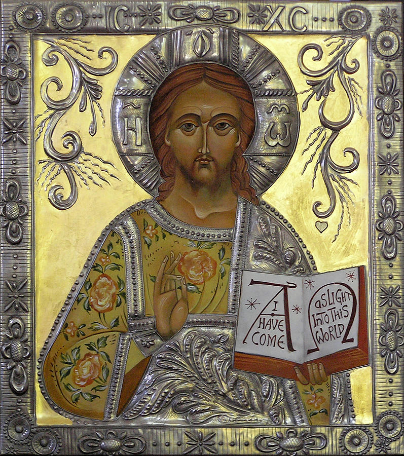 Byzantine Iconography Painting - Christ Pantocrator by Mary jane Miller