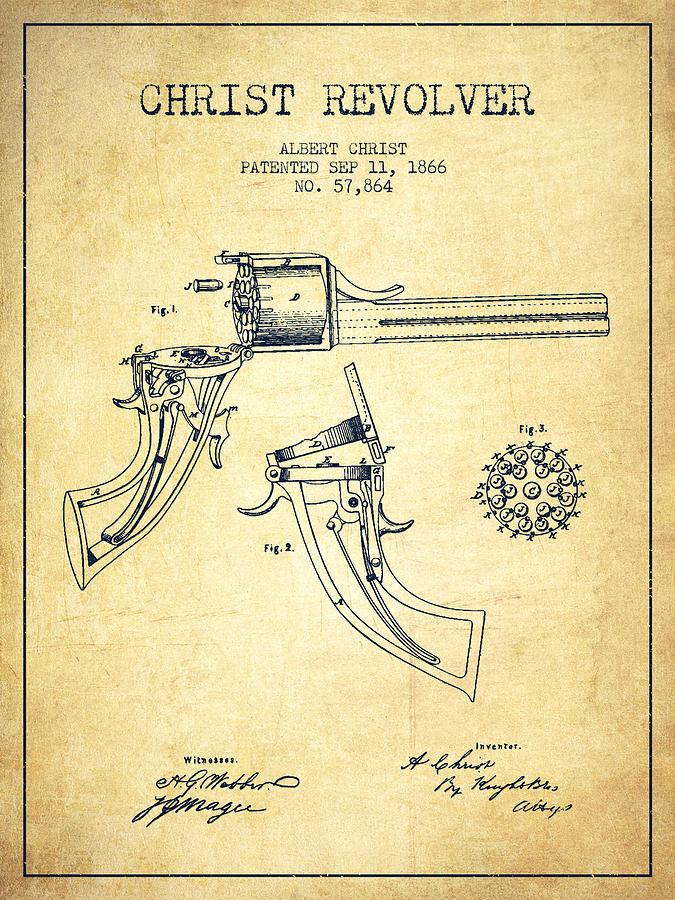 Christ Revolver Patent Drawing From 1866 - Vintage Digital Art