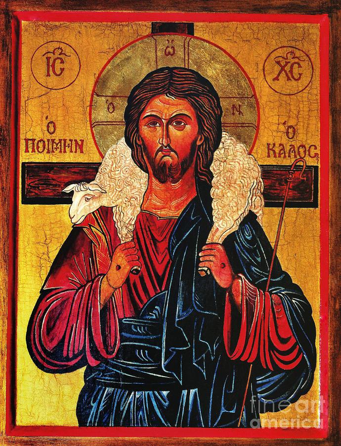 Christ Painting - Christ the Good Shepherd Icon by Ryszard Sleczka