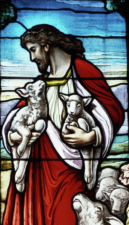 Vertical Photograph - Christ The Good Shepherd With His Flock by Vintage Images