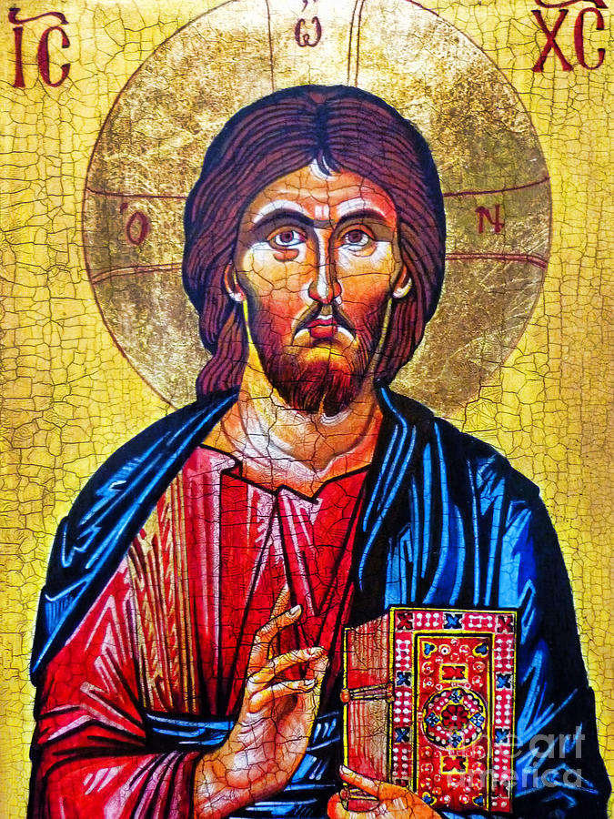 Christ The Pantocrator Icon Painting - Christ The Pantocrator Icon by Ryszard Sleczka