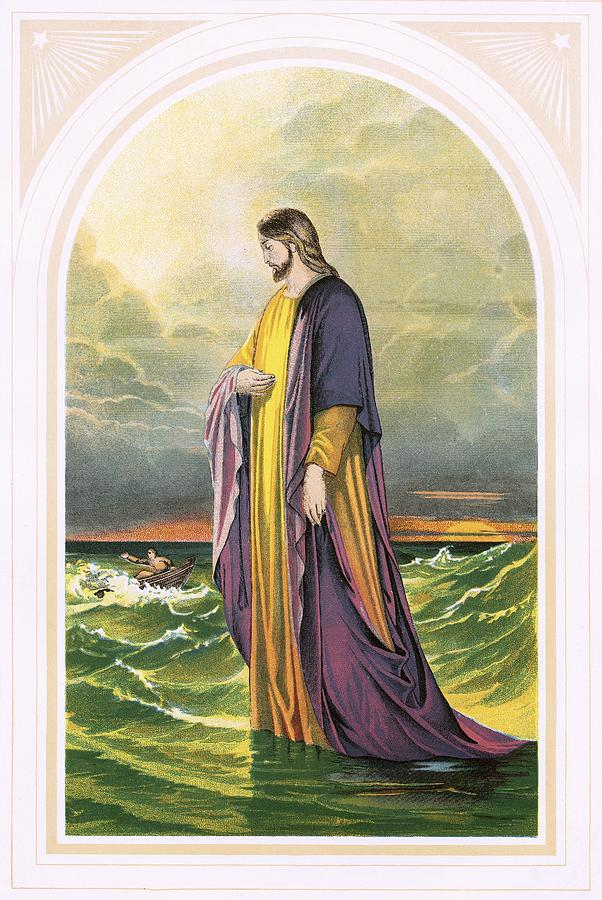 Bible; Christ; Jesus; Sea; Walk; Water; Sea Of Galilee; Miracle; Faith Painting - Christ Walking On The Sea by English School