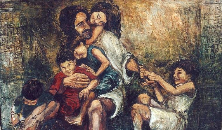 Christ With Children Painting By Christopher Santer