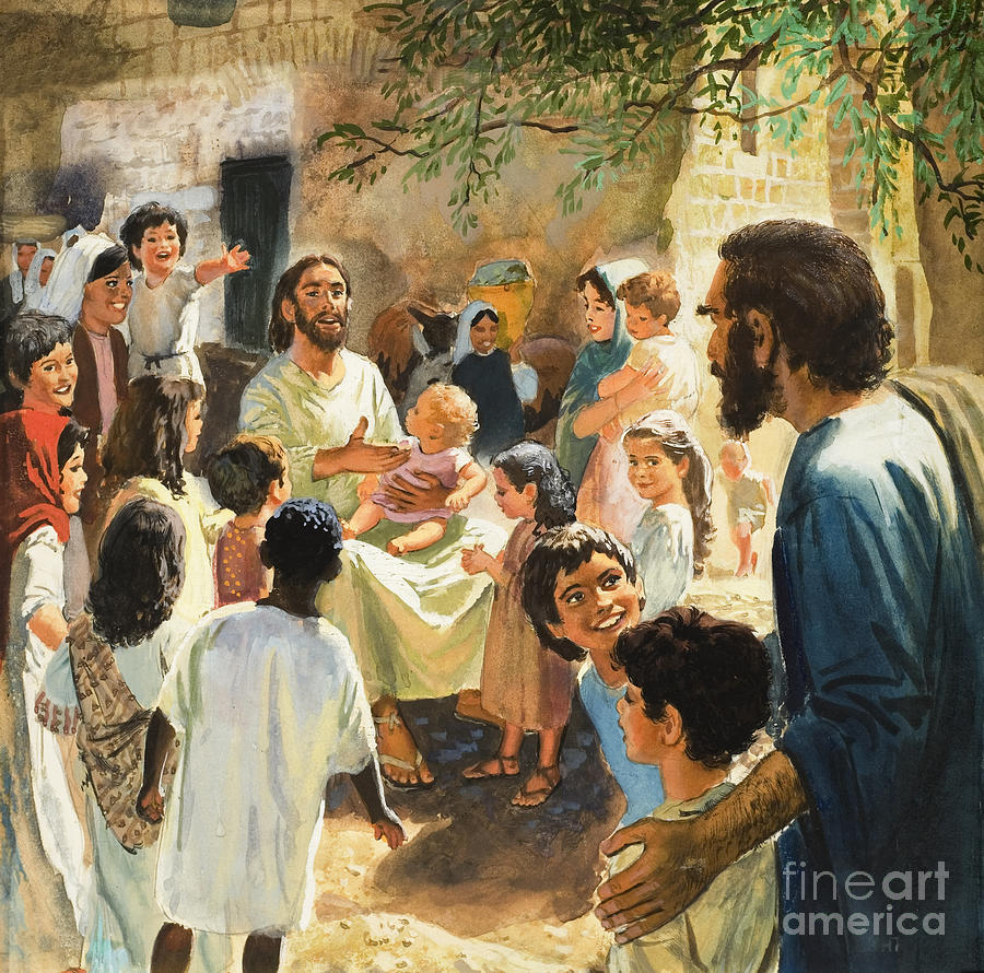 Jesus Christ Painting - Christ With Children by Peter Seabright
