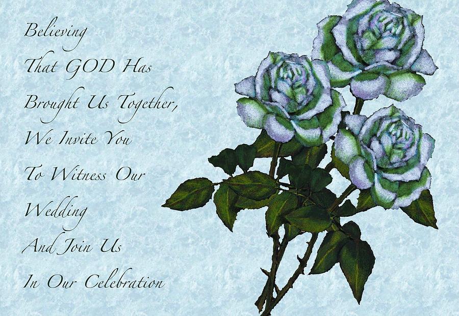 Wedding Drawing - Christian Wedding Invitation With Roses by Joyce Geleynse