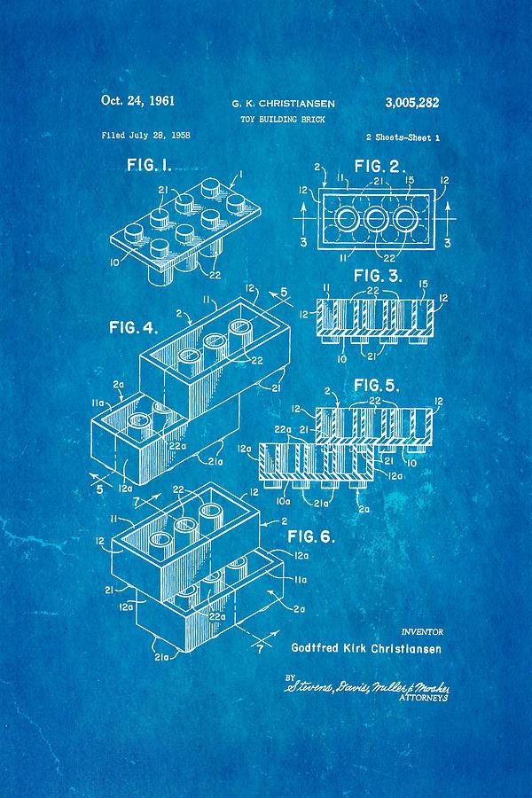 Construction Photograph - Christiansen Lego Toy Building Block Patent Art 2 1961 Blueprint by Ian Monk