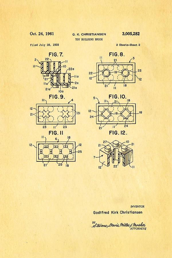 Construction Photograph - Christiansen Lego Toy Building Block Patent Art 2 1961 by Ian Monk