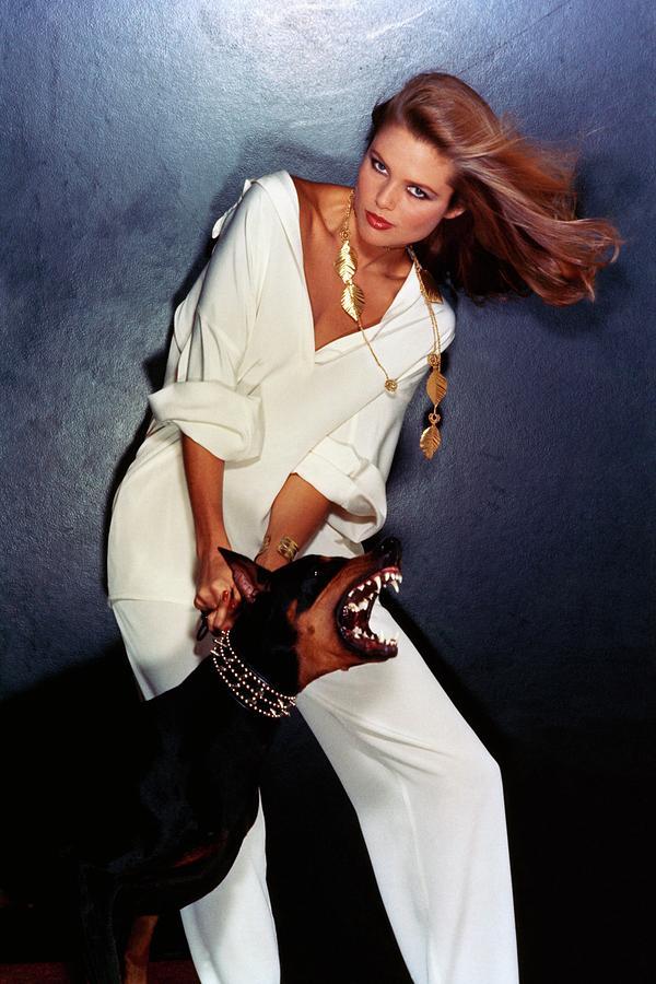 Christie Brinkley Wearing Geoffrey Beene Pajamas Photograph by Chris Von Wangenheim