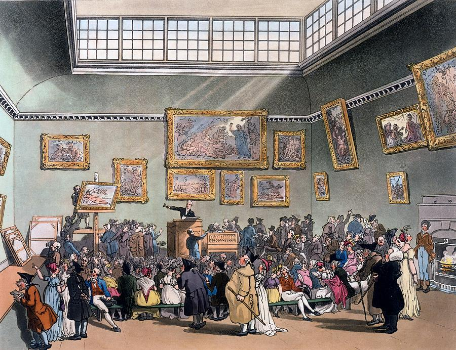 Microcosm Of London Drawing - Christies Auction Room, Illustration by T. & Pugin, A.C. Rowlandson