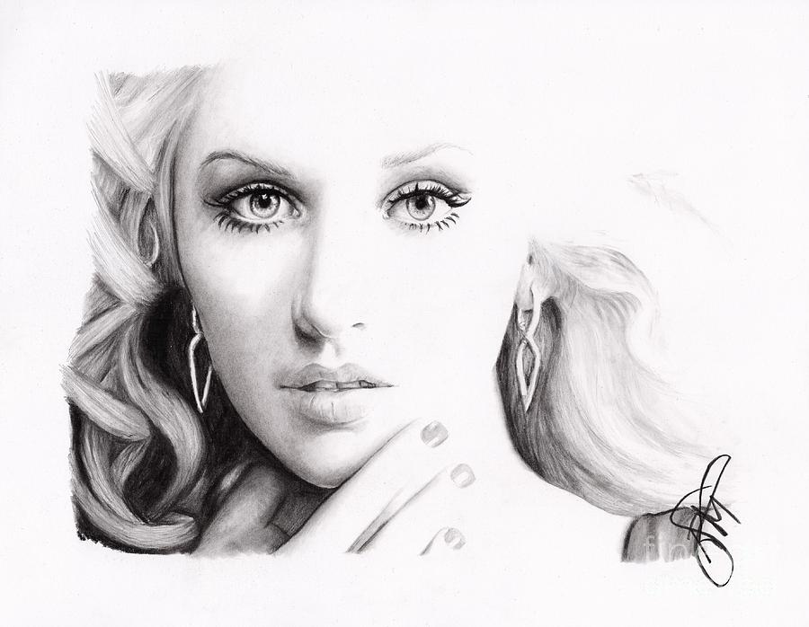 Christina Aguilera Drawing - Christina Aguilera 2 by Rosalinda Markle