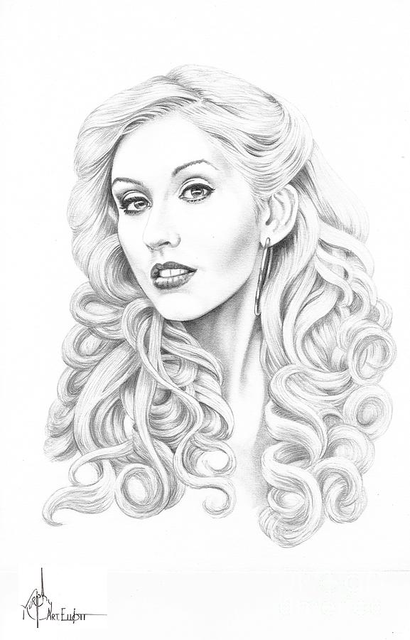 Pencil Drawing - Christina Aguilera by Murphy Elliott