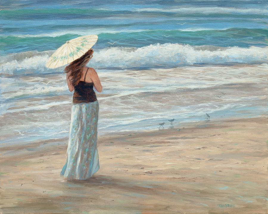 Girl On Beach Painting - Christina With Parasol by Tina Obrien