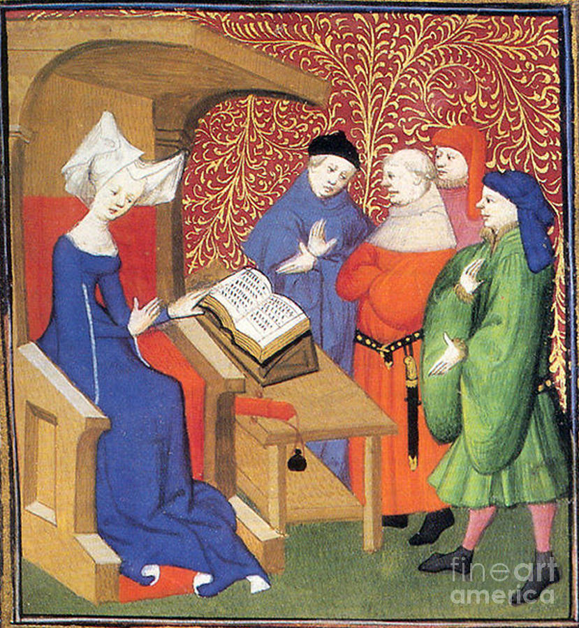 Historic Photograph - Christine De Pizan Lecturing To Men by Photo Researchers
