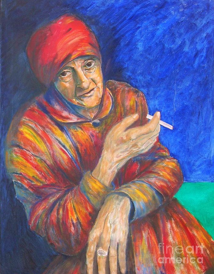 Woman Portrait Painting - Christine Lavant by Dagmar Helbig