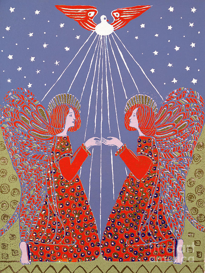 Angels Painting - Christmas 77 by Gillian Lawson