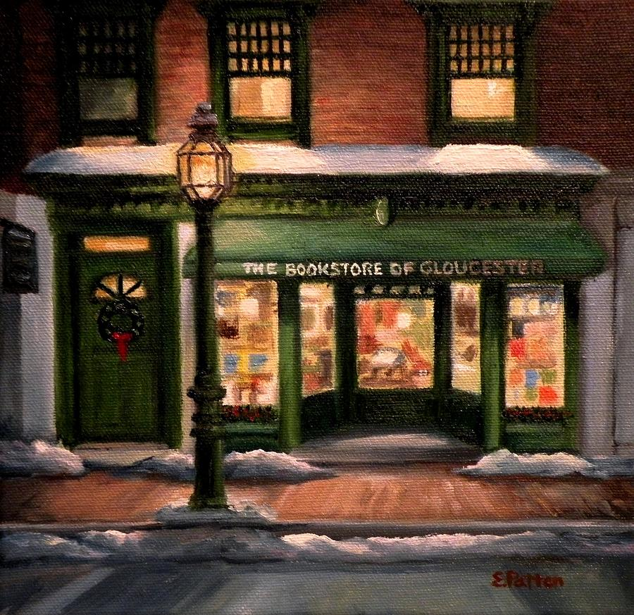 Gloucester Painting - Christmas At The Bookstore Of Gloucester by Eileen Patten Oliver