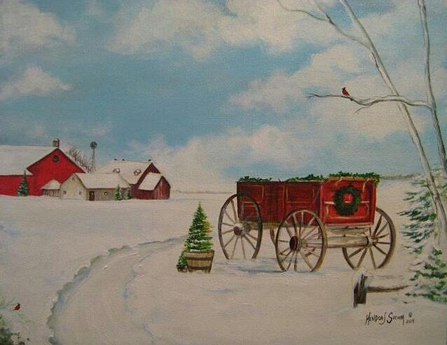 Wagon Painting - Christmas At The Farm by Kendra Sorum