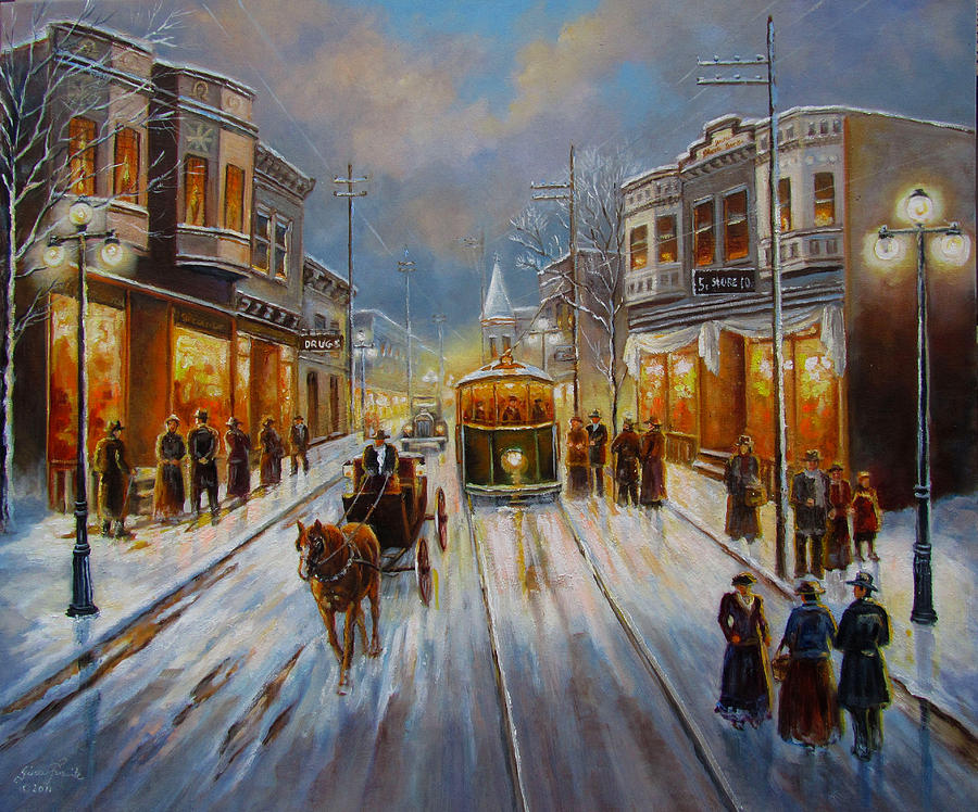 Oil Painting Painting - Christmas Atmosphere In A Small Town America In 1900 by Regina Femrite
