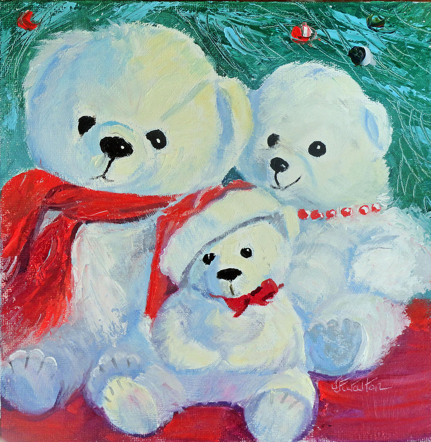 Christmas Painting - Christmas Bears by Judy Fischer Walton