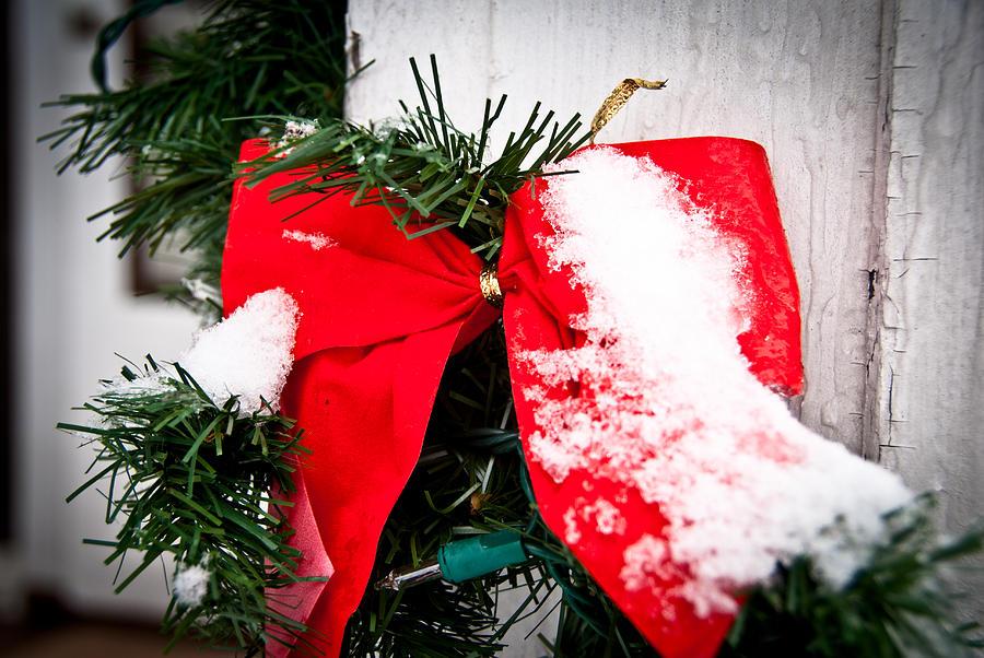 Christmas Photograph - Christmas Bow  by Nickaleen Neff