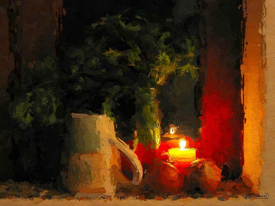 Christmas candle light painting by wayne pascall for Candle painting medium