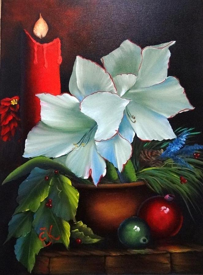 Christmas Cards Painting - Christmas Candle by Fineartist Ellen