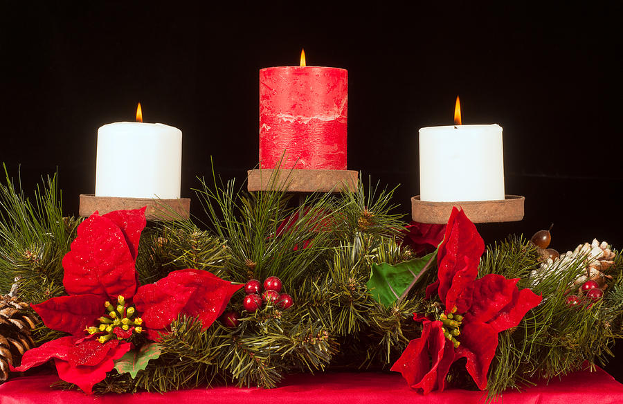 Christmas Photograph - Christmas Candle Trio by Kenneth Sponsler