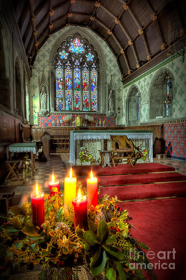Altar Photograph - Christmas Candles by Adrian Evans
