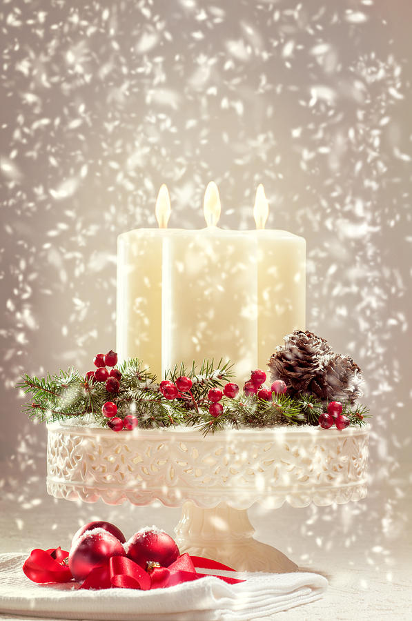 Christmas Photograph - Christmas Candles by Amanda Elwell