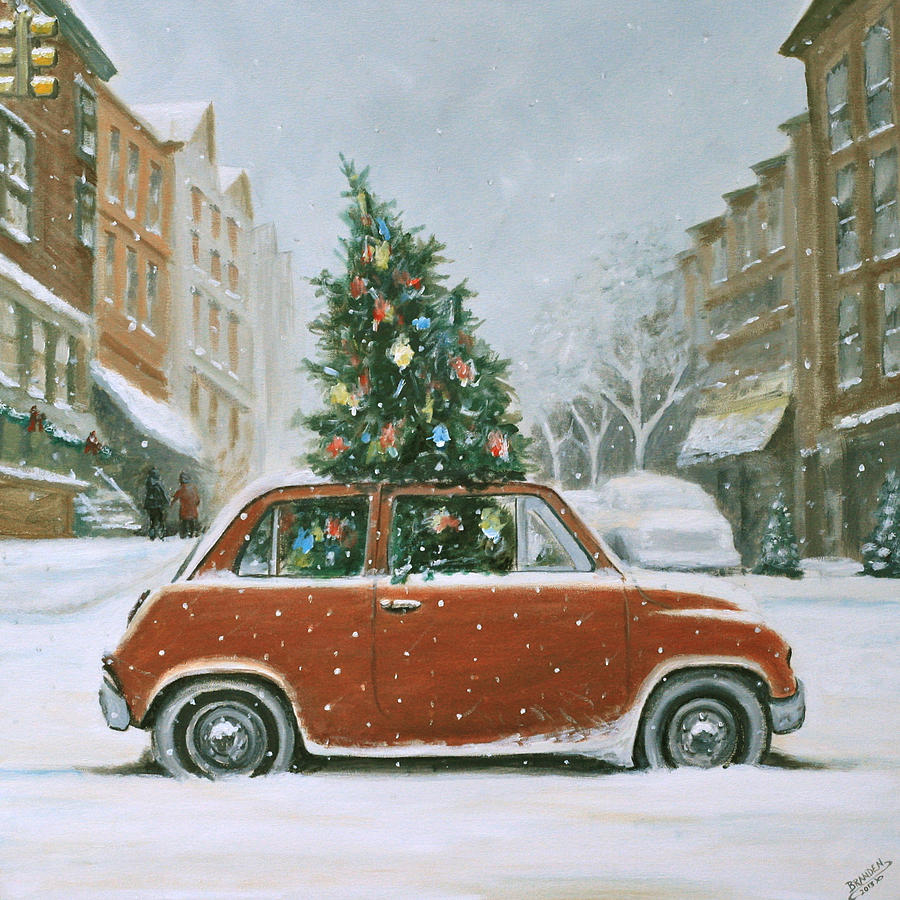 Christmas Car Painting - Christmas Car by Branden Hochstetler