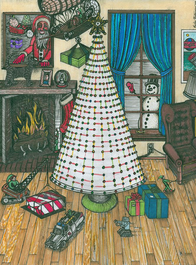 Chrismas Painting - Christmas Card Drawing by Richie Montgomery