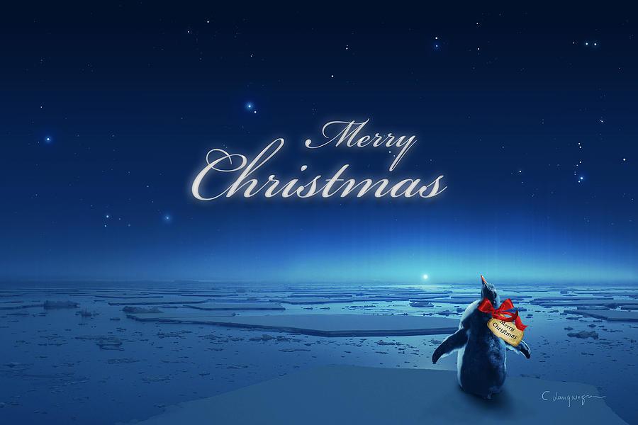 Merry Christmas Digital Art - Christmas Card - Penguin blue by Cassiopeia Art
