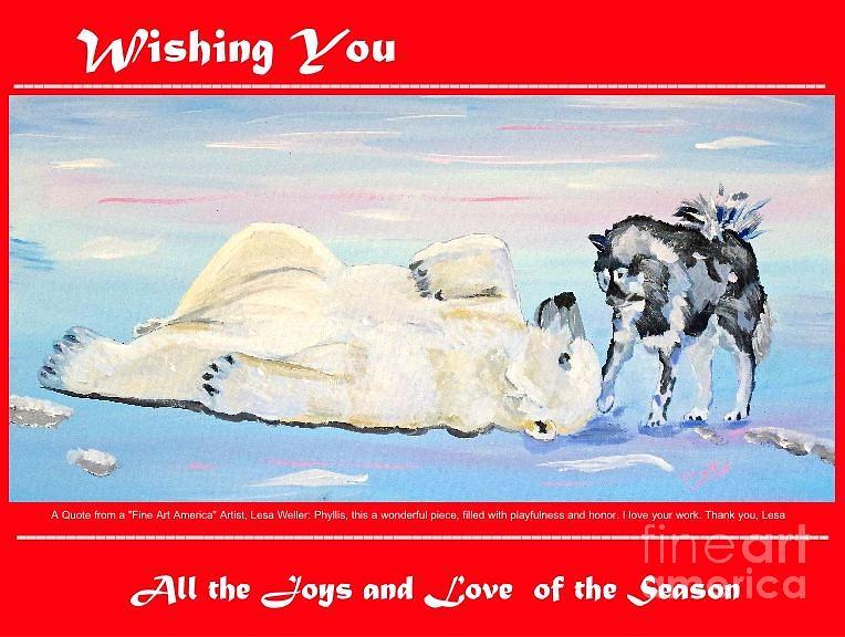 Christmas Card Polar Bear And His Friend The Husky Dog Painting