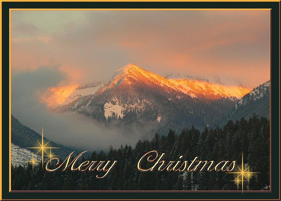 Mountain Christmas Cards.Christmas Card Sunset On The Mountains