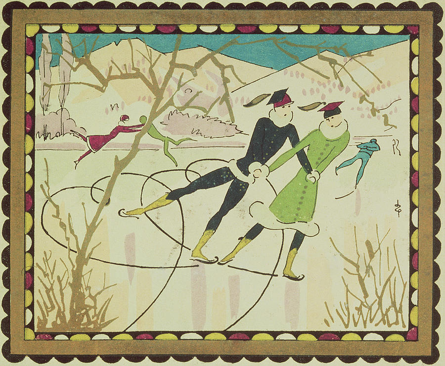 Christmas Drawing - Christmas Card With Figure Skaters by American School