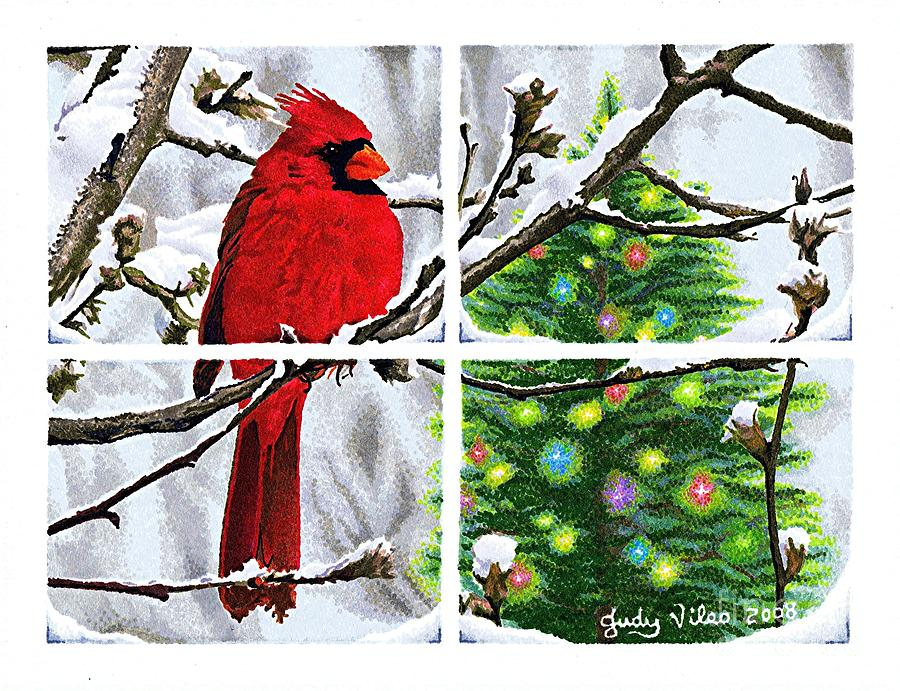 Christmas Cardinal Drawing by Judy Skaltsounis