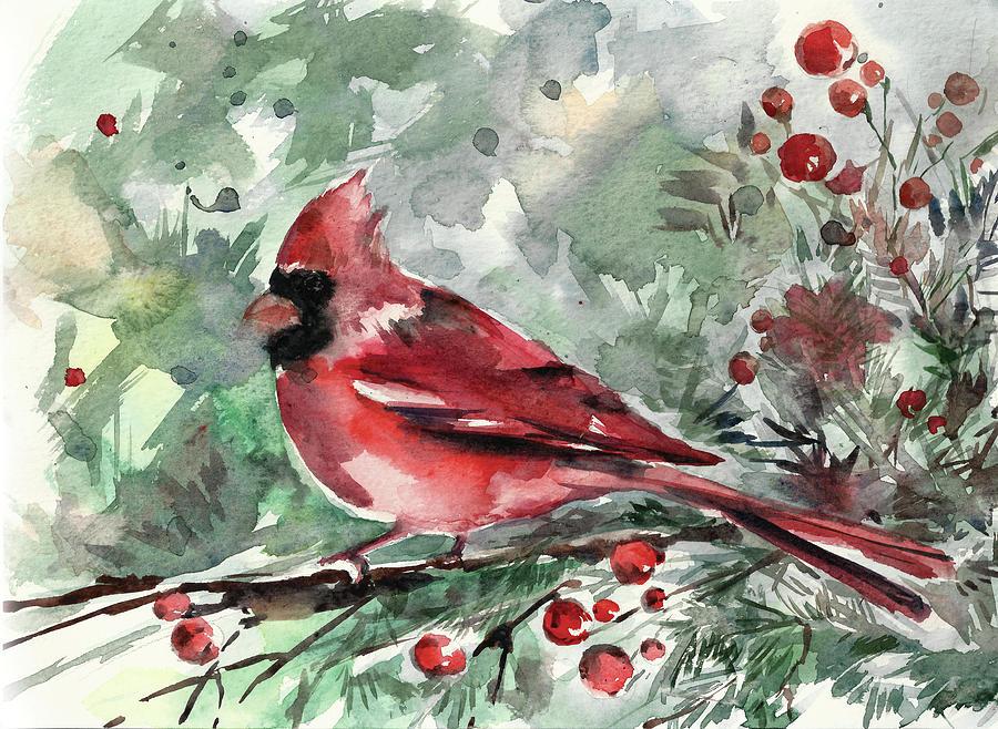 Christmas Cardinal Painting By Sophia Rodionov