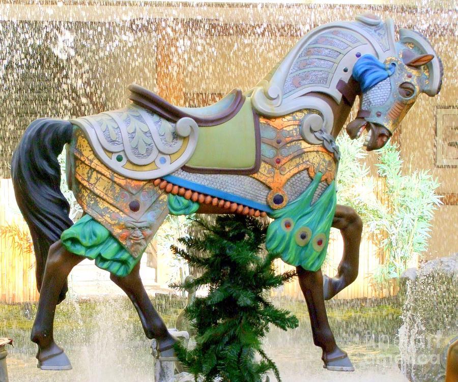 Carousel Photograph - Christmas Carousel Warrior Horse-1 by Mary Deal