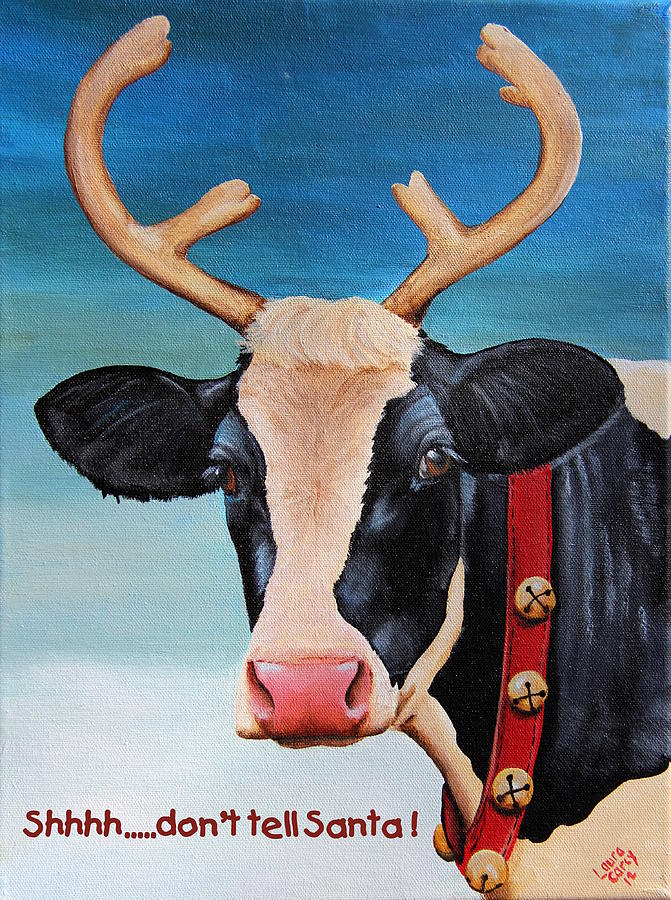Cardinal Painting - Christmas Cow by Laura Carey