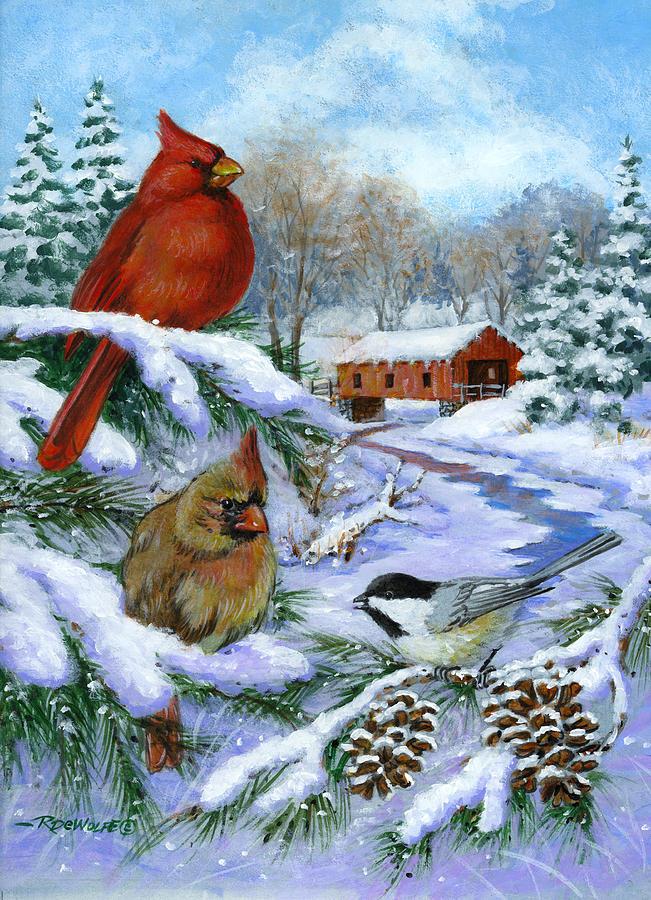 Cardinal Painting - Christmas Creek by Richard De Wolfe