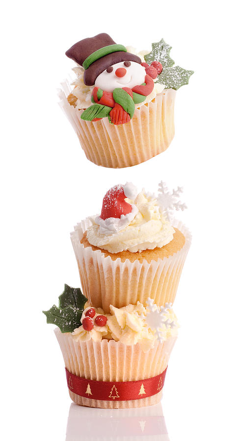 Christmas Photograph - Christmas Cupcake Tower by Amanda Elwell