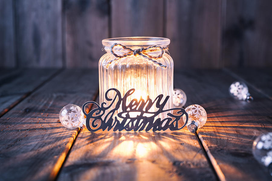 Christmas decoration on old wood - Candle Jar Card Photograph by ThomasVogel