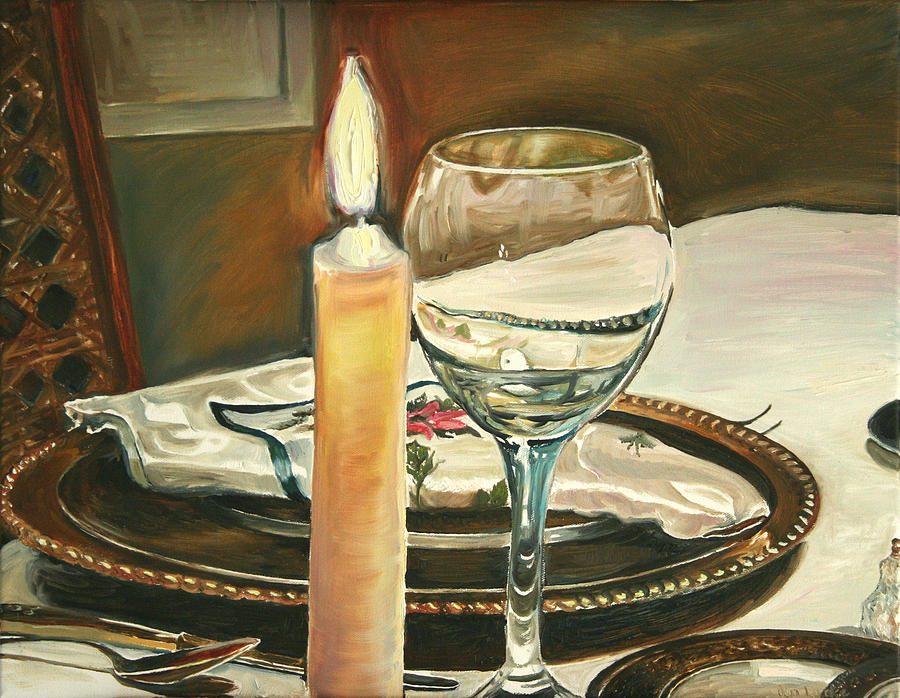 Still Life Painting - Christmas Dinner With Place Setting by Jennifer Lycke