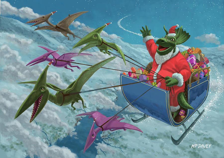 Christmas Painting - Christmas Dinosaur Santa Ride by Martin Davey