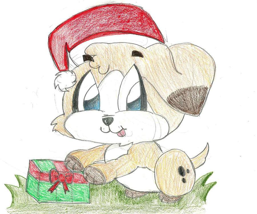 Christmas Puppy Drawing by Raquel Chaupiz