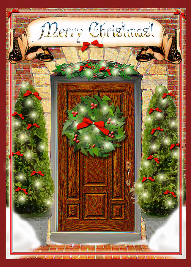 Christmas Digital Art - Christmas Door by Melissa A Benson : christmas door - pezcame.com