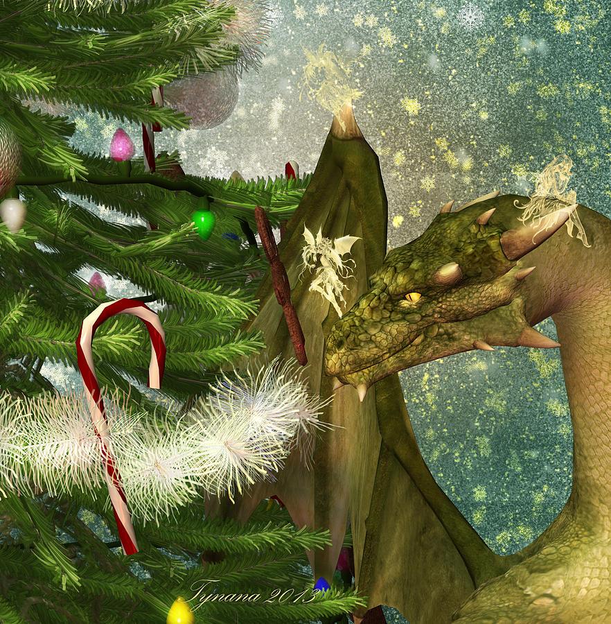 Christmas Dragon.Christmas Dragon And Fairies
