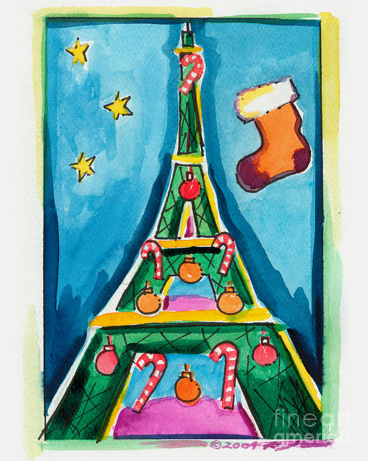 Christmas Eiffel Tower Painting Painting By Robyn Saunders